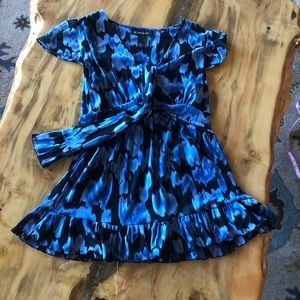 Inc. Blue/Black ruffled top